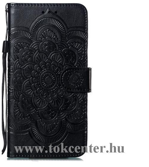 Huawei P30 Tok álló, bőr (FLIP, oldalra nyíló, asztali tartó funkció, csuklópánt, virág, mandala minta) FEKETE