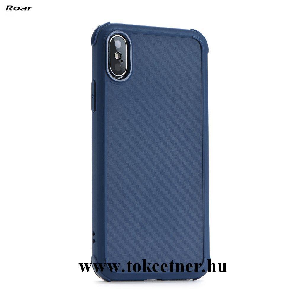Samsung Galaxy S9 (SM-G960) ROAR ARMOR CARBON telefonvédő gumi / szilikon (közepesen ütésálló, légpárnás sarok, karbonminta) KÉK