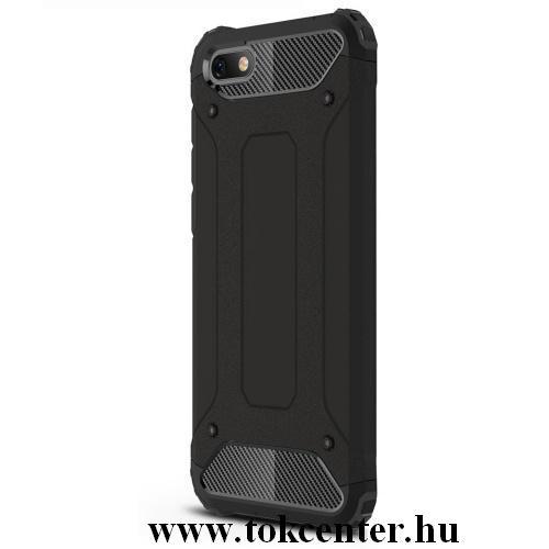 Xiaomi Redmi 8 Defender műanyag telefonvédő (közepesen ütésálló, légpárnás sarok, szilikon belső, fémhatás) FEKETE