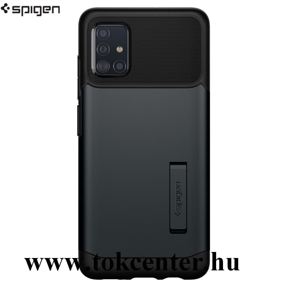 Samsung Galaxy A51 (SM-A515F) SPIGEN SLIM ARMOR szilikon telefonvédő (közepesen ütésálló, műanyag hátlap, légpárnás sarok, kitámasztó) SÖTÉTSZÜRKE (ACS00820)