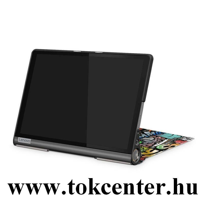 Lenovo Yoga Smart 10.1 (YT-X705F) WIFI / Lenovo Yoga Smart 10.1 (YT-X705L) LTE Tok álló, bőr hatású (aktív flip, oldalra nyíló, asztali tartó funkció, graffiti minta) SZÍNES