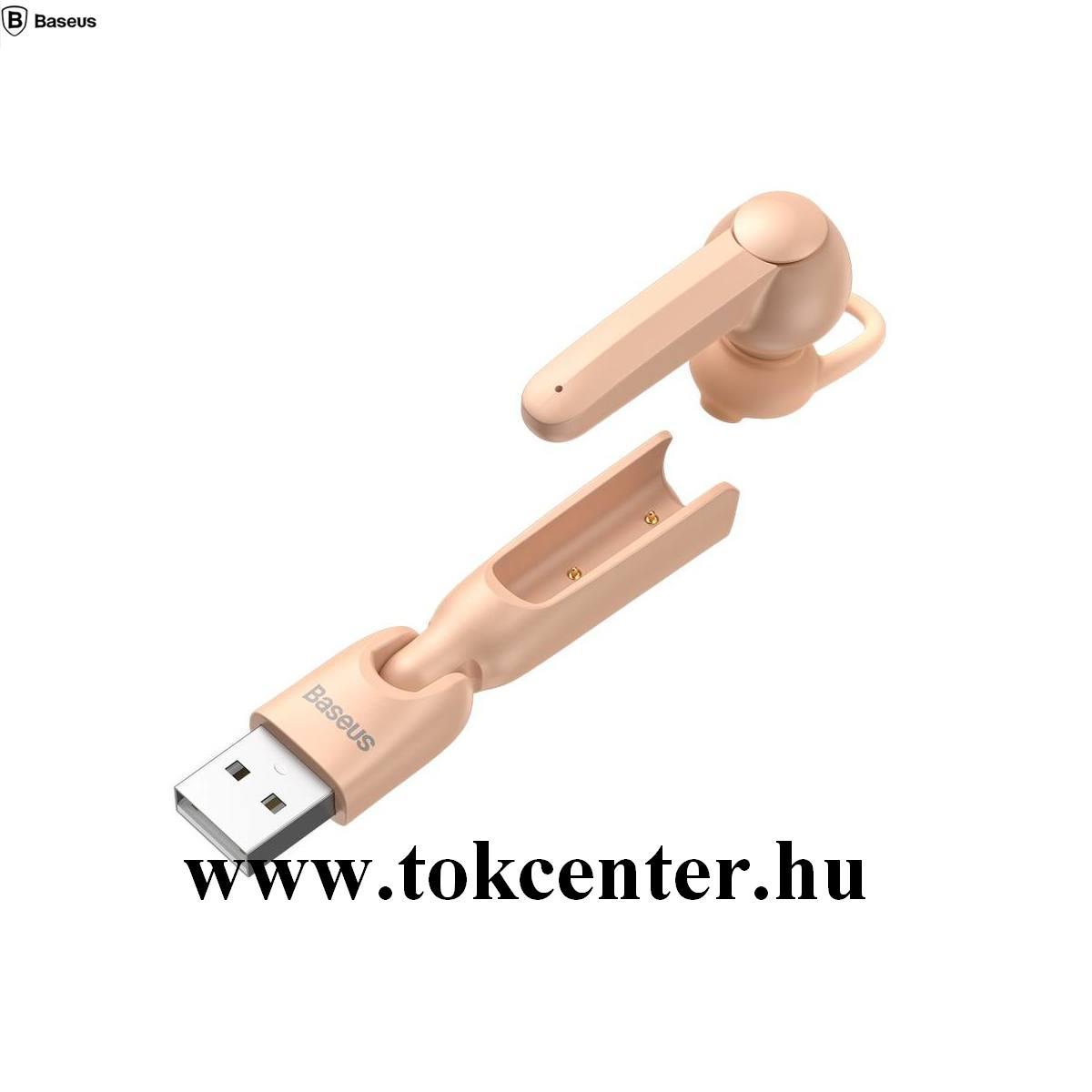 BASEUS ENCOK BLUETOOTH fülhallgató MONO (mikrofon, multipoint + USB töltőállomás) RÓZSASZÍN