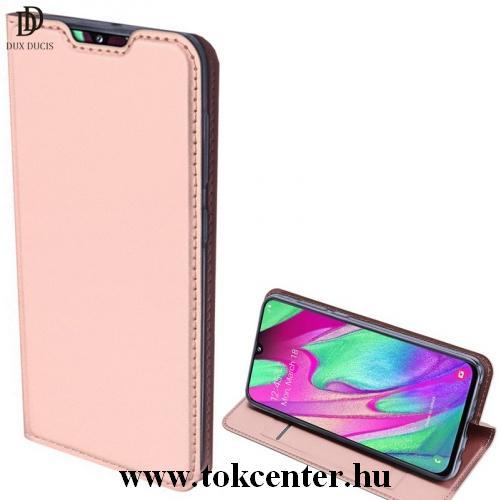 Samsung Galaxy A41 (SM-A415F) DUX DUCIS SKIN PRO tok álló, bőr hatású (FLIP, oldalra nyíló, bankkártya tartó, asztali tartó funkció) ROZÉARANY