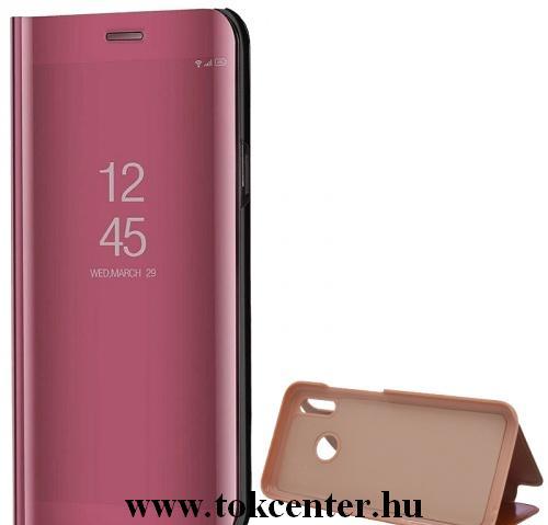 Xiaomi Pocophone F2 Pro Tok álló (aktív flip, oldalra nyíló, asztali tartó funkció, tükrös felület, Mirror View Case) ROZÉARANY