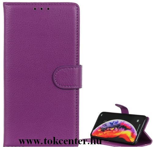 Samsung Galaxy M01 (SM-M015F) Tok álló, bőr hatású (FLIP, oldalra nyíló, asztali tartó funkció) LILA