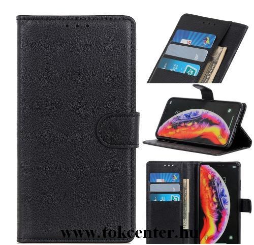 Samsung Galaxy M01 (SM-M015F) Tok álló, bőr hatású (FLIP, oldalra nyíló, asztali tartó funkció, prémium) FEKETE