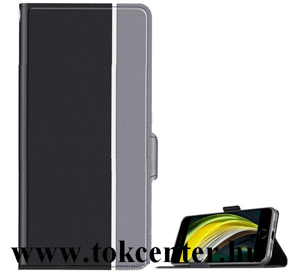Xiaomi Mi Note 10 Lite Tok álló, bőr hatású (FLIP, oldalra nyíló, asztali tartó funkció, textil minta + csuklópánt) FEKETE