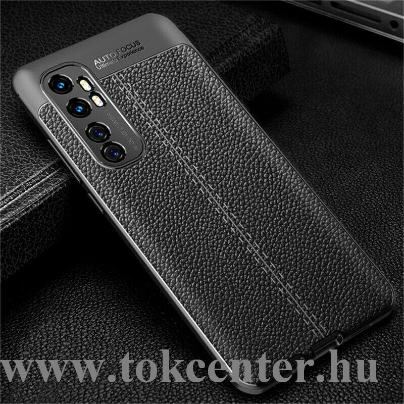 Xiaomi Mi Note 10 Lite Szilikon telefonvédő (közepesen ütésálló, bőr hatású, varrás minta) FEKETE