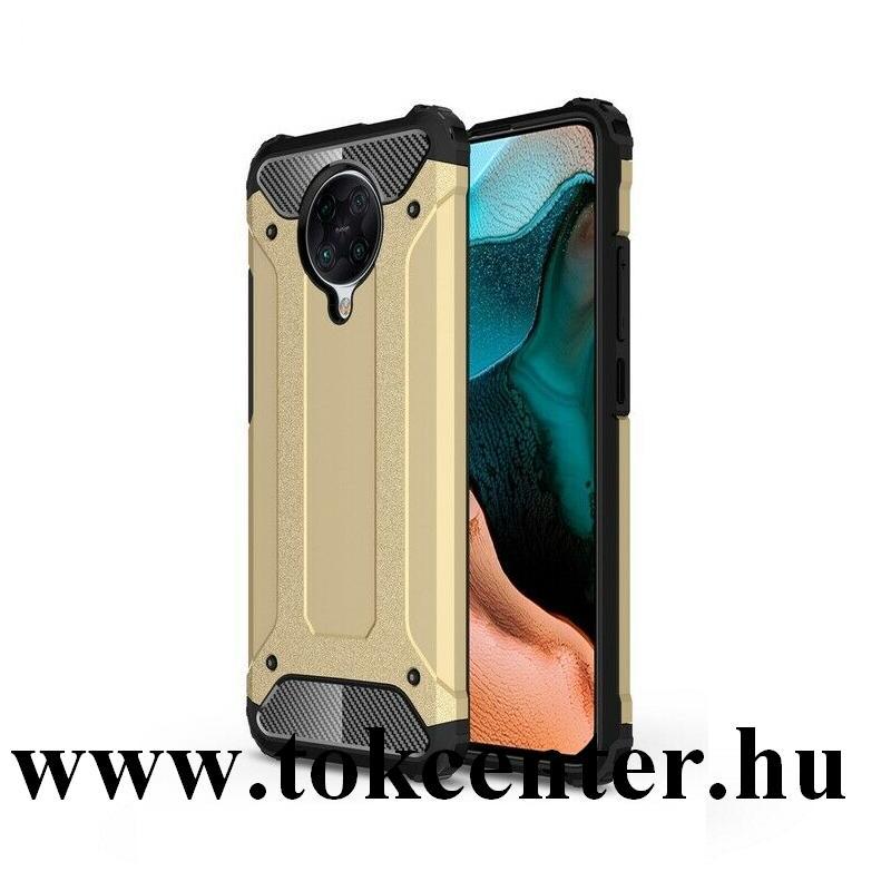 Xiaomi Pocophone F2 Pro Defender műanyag telefonvédő (közepesen ütésálló, légpárnás sarok, szilikon belső, fémhatás) ARANY