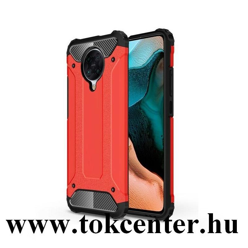 Xiaomi Pocophone F2 Pro Defender műanyag telefonvédő (közepesen ütésálló, légpárnás sarok, szilikon belső, fémhatás) PIROS