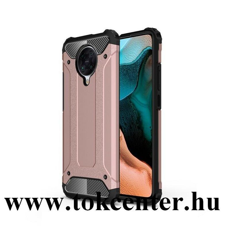 Xiaomi Pocophone F2 Pro Defender műanyag telefonvédő (közepesen ütésálló, légpárnás sarok, szilikon belső, fémhatás) ROZÉARANY