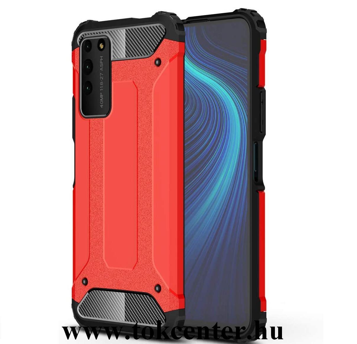 Honor X10 5G Defender műanyag telefonvédő (közepesen ütésálló, légpárnás sarok, szilikon belső, fémhatás) PIROS