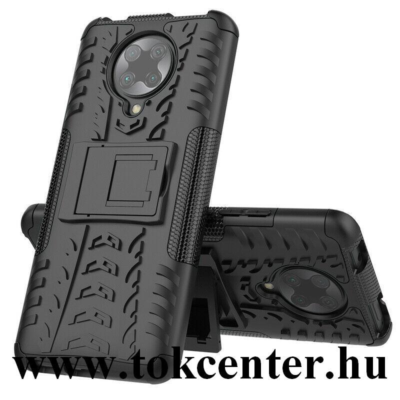 Xiaomi Pocophone F2 Pro Defender műanyag telefonvédő (közepesen ütésálló, szilikon belső, kitámasztó, autógumi minta) FEKETE