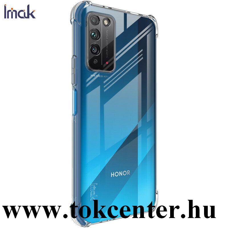 Honor X10 5G IMAK szilikon telefonvédő (közepesen ütésálló, légpárnás sarok + képernyővédő fólia) ÁTLÁTSZÓ