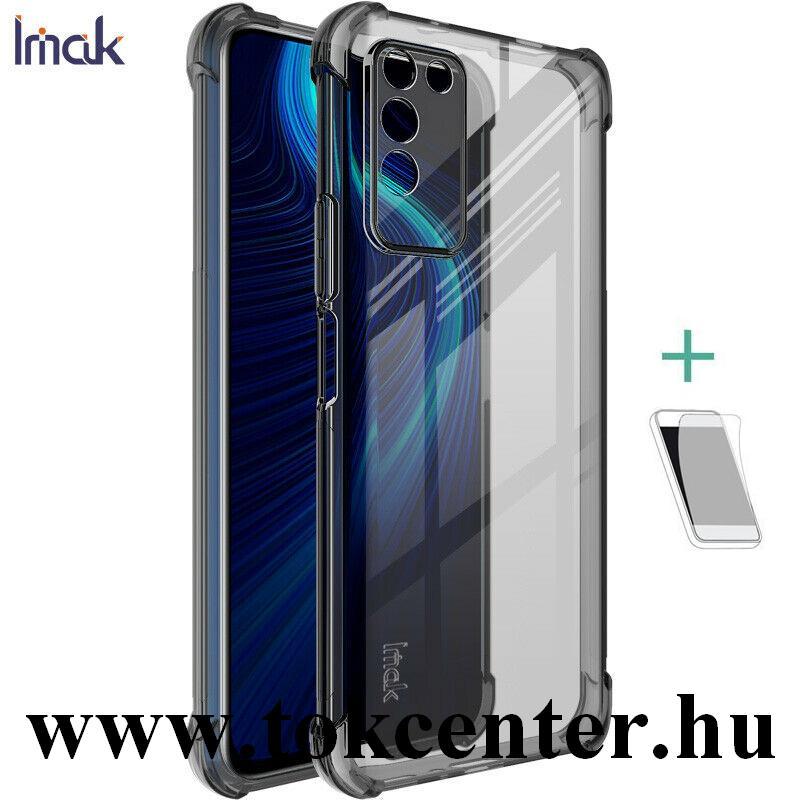 Honor X10 5G IMAK szilikon telefonvédő (közepesen ütésálló, légpárnás sarok + képernyővédő fólia) FÜSTSZÍNŰ