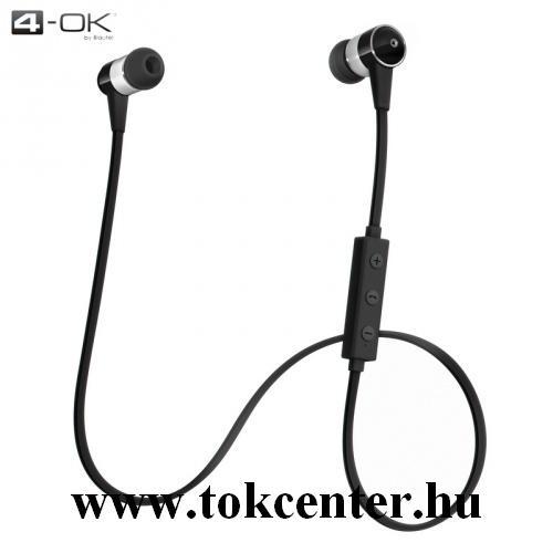 4-OK ONE BLUETOOTH SZTEREO fülhallgató (nyakba akasztható, mikrofon, lapos kábel, SPORT) FEKETE
