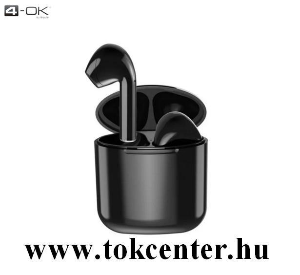 4-OK TWO BLUETOOTH SZTEREO fülhallgató (v5.0, TWS, mikrofon, extra mini + töltőtok) FEKETE