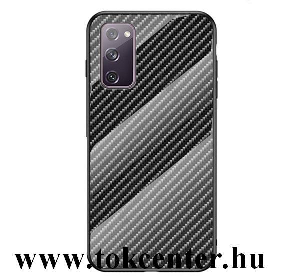 Samsung Galaxy S20 FE (SM-G780) Telefonvédő szilikon keret (BUMPER, edzett üveg hátlap, karbon minta) FEKETE
