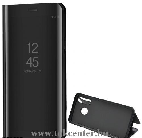 Samsung Galaxy S20 FE (SM-G780) Tok álló (aktív flip, oldalra nyíló, asztali tartó funkció, tükrös felület, Mirror View Case) FEKETE