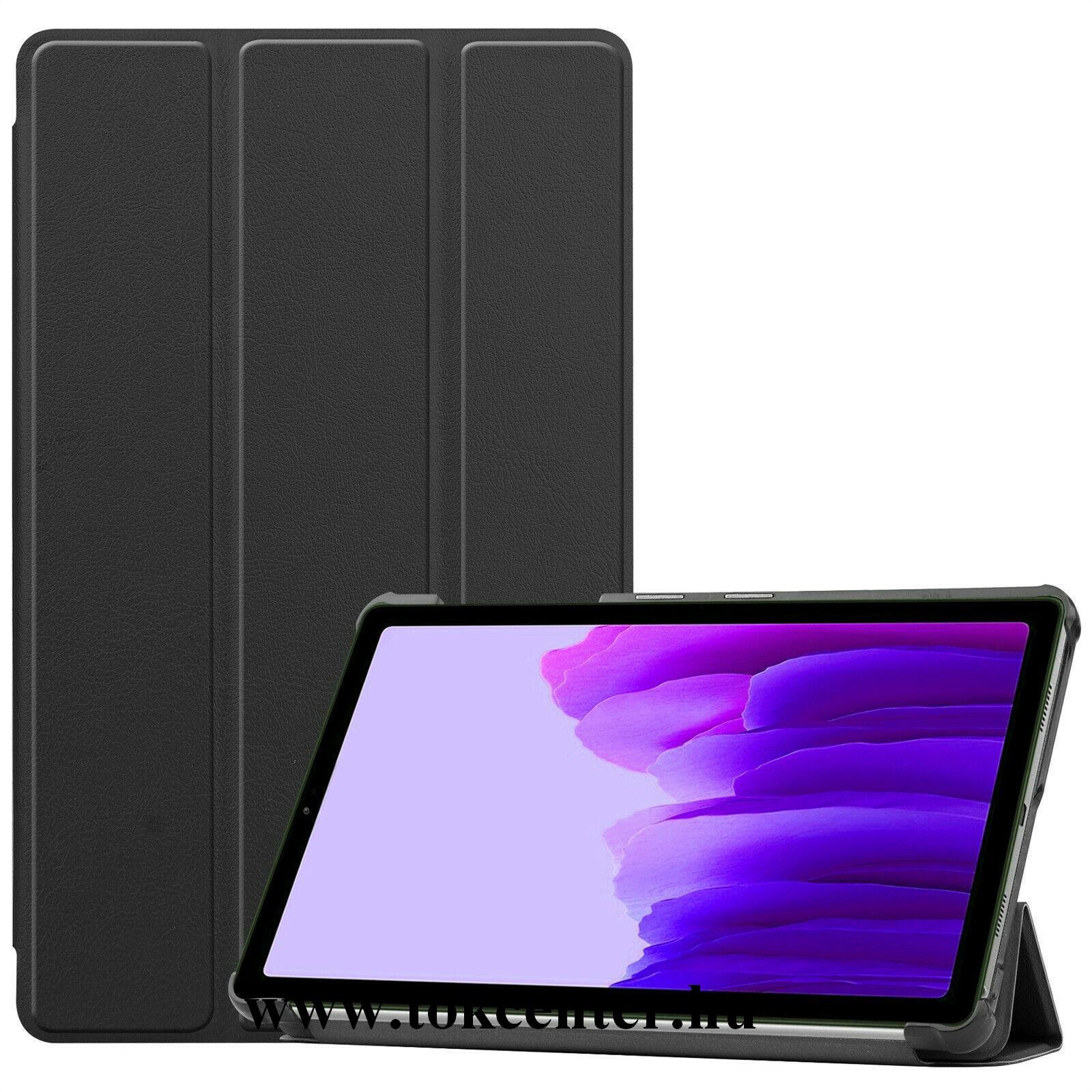 Samsung Galaxy Tab A7 Lite LTE (SM-T225) / Galaxy Tab A7 Lite WIFI (SM-T220) Tok álló, bőr hatású (aktív flip, oldalra nyíló, TRIFOLD asztali tartó funkció) FEKETE