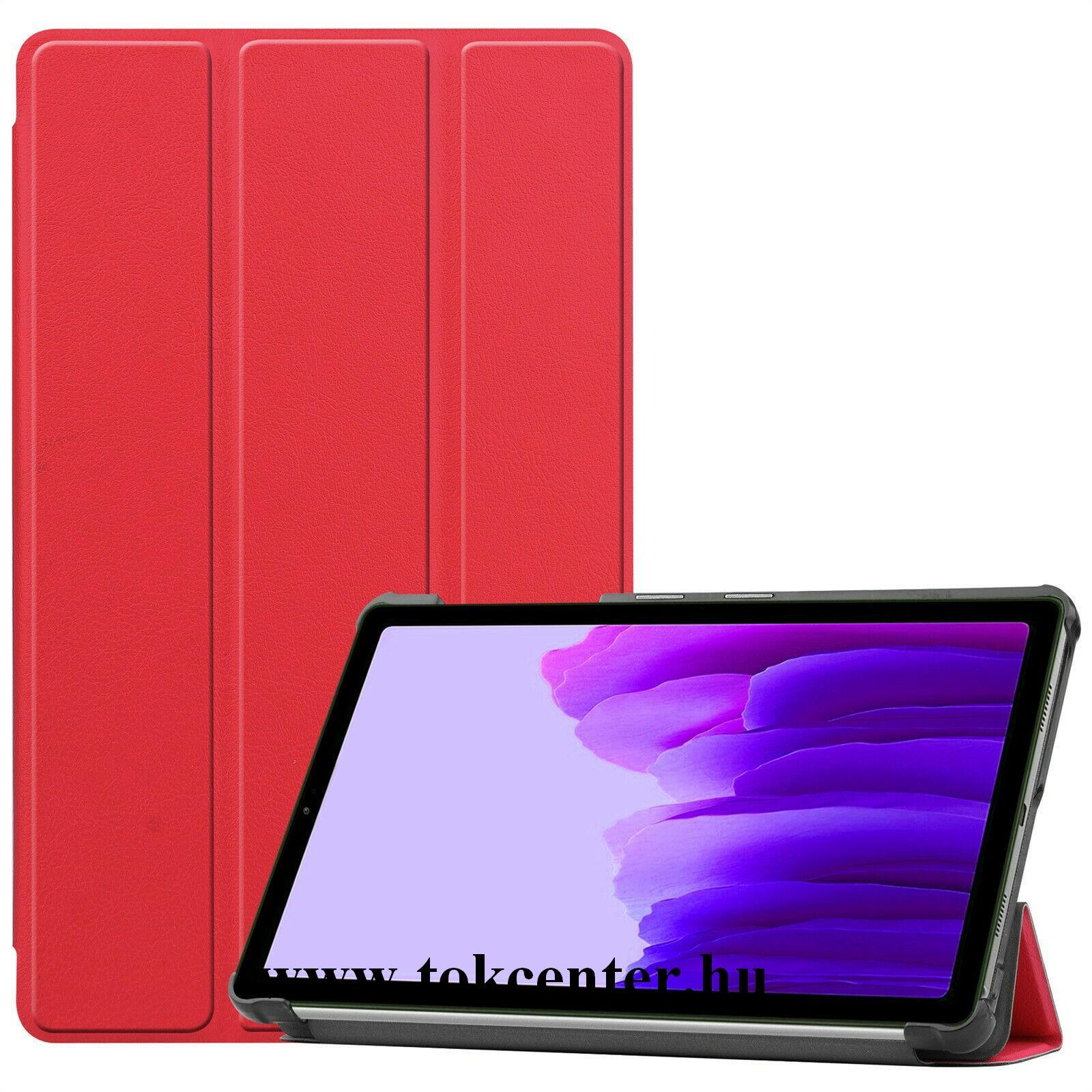 Samsung Galaxy Tab A7 Lite LTE (SM-T225) / Galaxy Tab A7 Lite WIFI (SM-T220) Tok álló, bőr hatású (aktív flip, oldalra nyíló, TRIFOLD asztali tartó funkció) PIROS