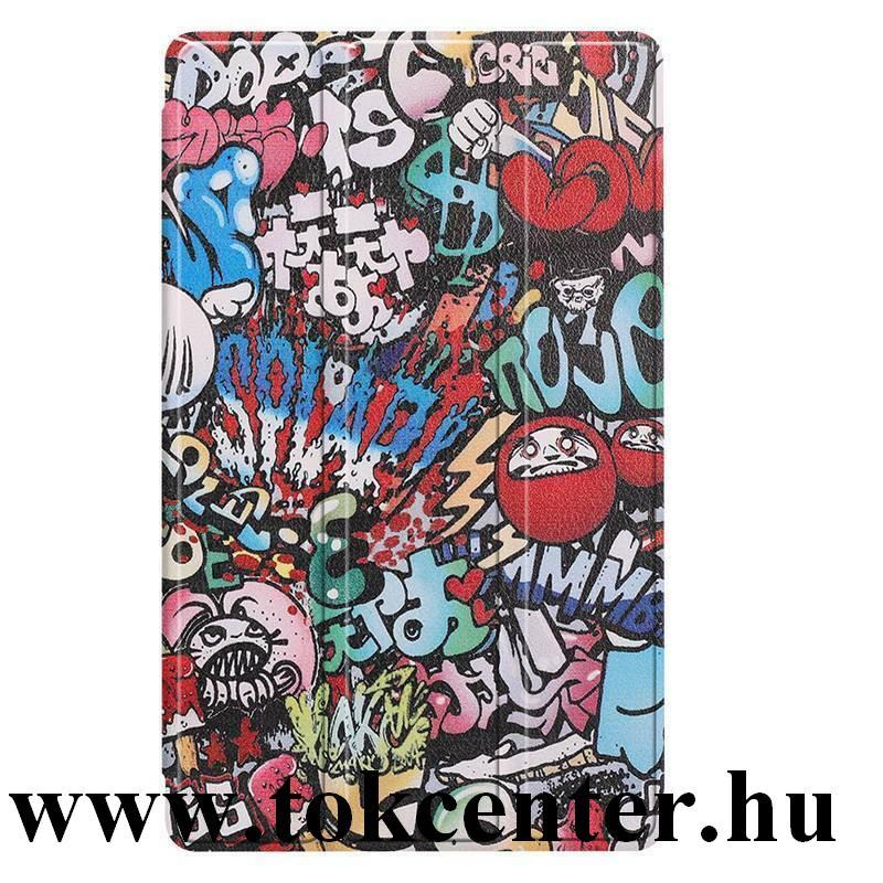 Samsung Galaxy Tab A7 Lite LTE (SM-T225) / Galaxy Tab A7 Lite WIFI (SM-T220) Tok álló, bőr hatású (FLIP, oldalra nyíló, TRIFOLD asztali tartó funkció, graffiti minta) SZÍNES