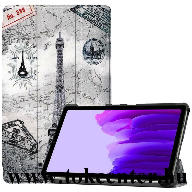 Samsung Galaxy Tab A7 Lite LTE (SM-T225) / Galaxy Tab A7 Lite WIFI (SM-T220) Tok álló, bőr hatású (FLIP, oldalra nyíló, TRIFOLD asztali tartó funkció, Eiffel torony, térkép minta) SZÜRKE