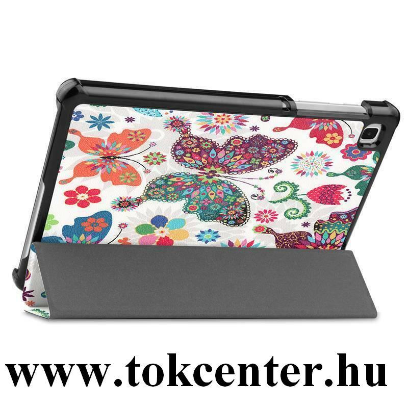 Samsung Galaxy Tab A7 Lite LTE (SM-T225) / Galaxy Tab A7 Lite WIFI (SM-T220) Tok álló, bőr hatású (FLIP, oldalra nyíló, TRIFOLD asztali tartó funkció, pillangó, virág minta) FEHÉR