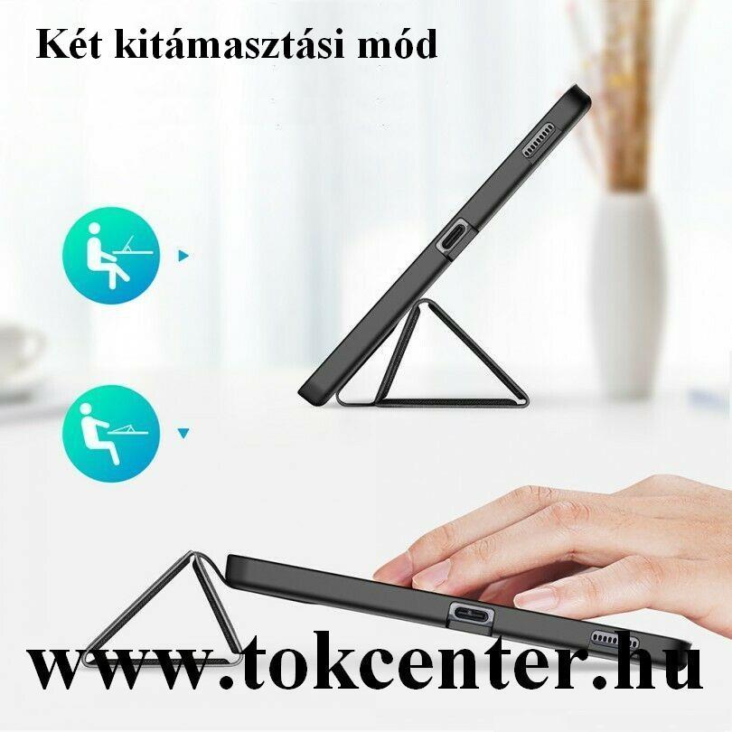 Samsung Galaxy Tab A7 Lite LTE (SM-T225) / Galaxy Tab A7 Lite WIFI (SM-T220) Tok álló, bőr hatású (FLIP, oldalra nyíló, TRIFOLD asztali tartó funkció, virág minta) KÉK