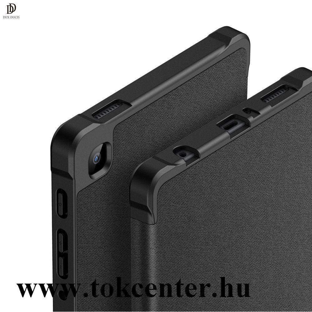 Samsung Galaxy Tab A7 Lite LTE (SM-T225) / Galaxy Tab A7 Lite WIFI (SM-T220) DUX DUCIS DOMO tok álló, bőr hatású (aktív flip, oldalra nyíló, TRIFOLD asztali tartó funkció, textil minta) FEKETE