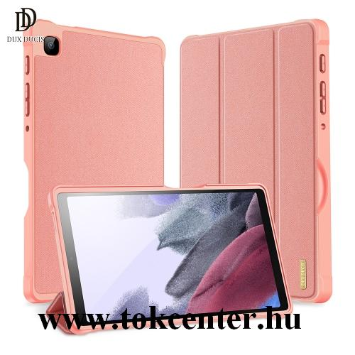 Samsung Galaxy Tab A7 Lite LTE (SM-T225) / Galaxy Tab A7 Lite WIFI (SM-T220) DUX DUCIS DOMO tok álló, bőr hatású (aktív flip, oldalra nyíló, TRIFOLD asztali tartó funkció, textil minta) RÓZSASZÍN