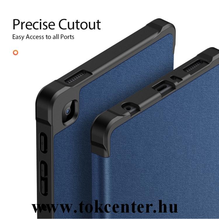 Samsung Galaxy Tab A7 Lite LTE (SM-T225) / Galaxy Tab A7 Lite WIFI (SM-T220) DUX DUCIS DOMO tok álló, bőr hatású (aktív flip, oldalra nyíló, TRIFOLD asztali tartó funkció, textil minta) SÖTÉTKÉK