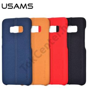 USAMS JOE IPHONE 7/8 4.7 PU-BŐR BEVONATOS TOK SÖTÉTKÉK