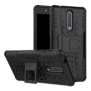NOKIA 5 Defender műanyag telefonvédő (közepesen ütésálló, gumi / szilikon belső, kitámasztó, autógumi minta) FEKETE