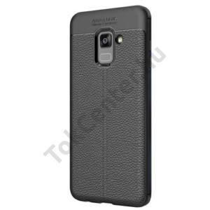 SAMSUNG Galaxy A8 (2018) SM-A530F Telefonvédő gumi / szilikon (bőrhatás, varrás minta) FEKETE