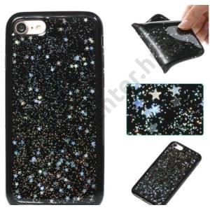 APPLE IPhone X 5,8`` Telefonvédő gumi / szilikon (fényes csillag minta) EZÜST/FEKETE