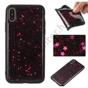 APPLE IPhone X 5,8`` Telefonvédő gumi / szilikon (fényes csillag minta) PIROS/FEKETE