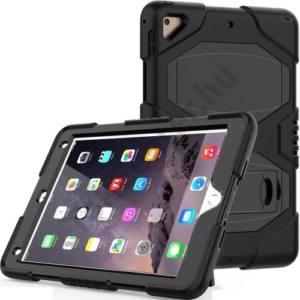 APPLE IPAD (2017) 9.7 Defender műanyag telefonvédő (közepesen ütésálló gumi / szilikon belső, kitámasztó) FEKETE