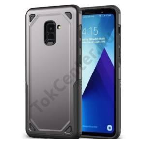 SAMSUNG Galaxy A8 (2018) SM-A530F Defender műanyag telefonvédő (közepesen ütésálló, gumi / szilikon belső) SZÜRKE