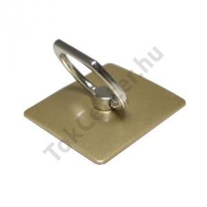 Telefontartó gyűrű (fém, ragasztható, telefon tartó, kitámasztó, mágneses, 180°-ban forgatható) ARANY