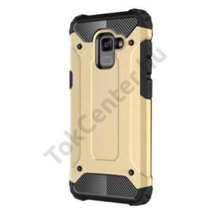HUAWEI Mate 10 Lite Defender műanyag telefonvédő (közepesen ütésálló, gumi / szilikon belső, fémhatás) ARANY