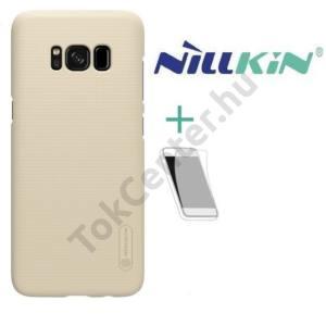 SAMSUNG Galaxy A8 Plus (2018) SM-A730F NILLKIN SUPER FROSTED műanyag telefonvédő (gumírozott, érdes felület, képernyővédő fólia, tisztítókendő) ARANY