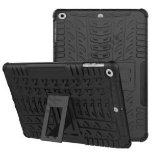 APPLE IPAD (2017) 9.7 Defender műanyag telefonvédő (közepesen ütésálló, gumi / szilikon belső, kitámasztó, autógumi minta) FEKETE