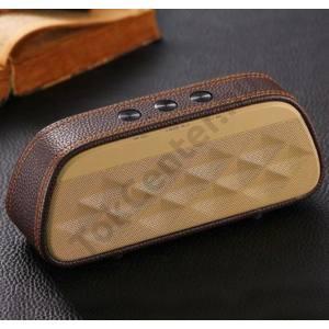 BLUETOOTH hordozható hangszóró (bőr borítás, 1200mAh belső akku mikrofon, 3.5mm jack csatlakozó) BARNA