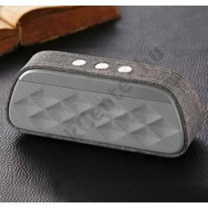 BLUETOOTH hordozható hangszóró (bőr borítás, 1200mAh belső akku mikrofon, 3.5mm jack csatlakozó) SZÜRKE