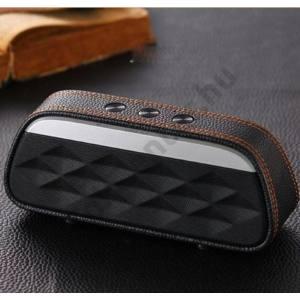 BLUETOOTH hordozható hangszóró (bőr borítás, 1200mAh belső akku mikrofon, 3.5mm jack csatlakozó) FEKETE