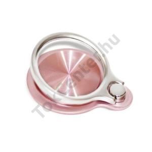 Telefontartó gyűrű (fém, ragasztható, telefon tartó, kitámasztó, mágneses, 180°-ban forgatható) RÓZSASZÍN