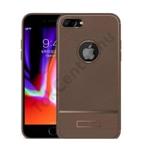 APPLE IPhone 6 Plus / 6S Plus 5.5`` Telefonvédő gumi / szilikon (bőrhatás, szálcsiszolt, logo kivágás) BARNA