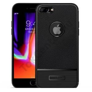 APPLE IPhone 6 Plus /6S Plus 5.5`` Telefonvédő gumi / szilikon (bőrhatás, szálcsiszolt, logo kivágás) FEKETE
