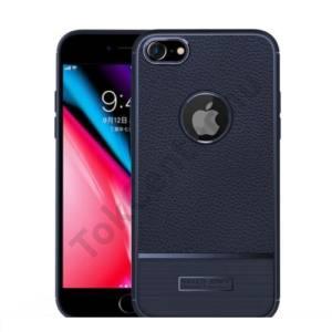 APPLE IPhone 6 Plus / 6S Plus 5.5`` Telefonvédő gumi / szilikon (bőrhatás, szálcsiszolt, logo kivágás) SÖTÉTKÉK